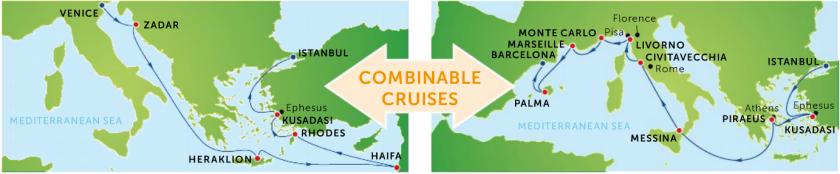 Kombiner to spændende krydstogter hvor du både kommer til det Vestlige og det Østlige Middelhav