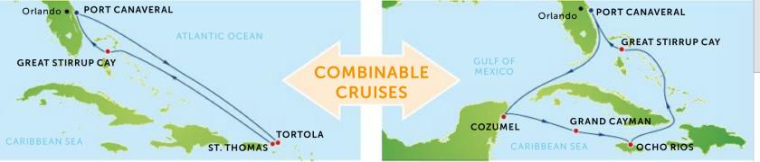 combinable cruises Caribbean
