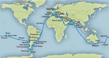Jordomsejlning med Costa Cruise