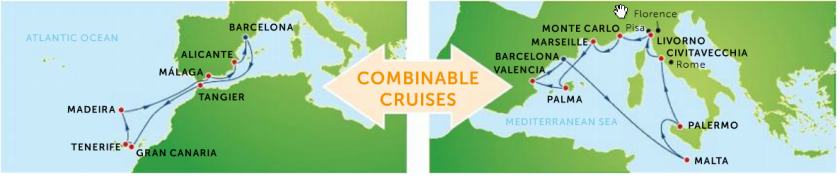 Vil du bde opleve de spændende historiske byer i Middelhavet og de Kanariske øer er det muligt ved at kombinere to krydstogter
