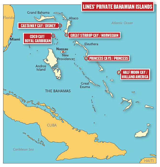 Sådan er de enkelte rederiers private øer placeret i forhold til hindanden