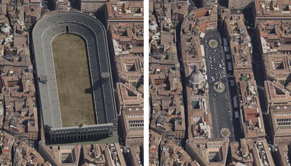 Domitians Stadion som det har set ud i 1 st. århundrede og som Piazza Navona ser ud i dag